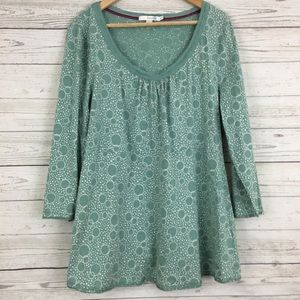 Boden teal polka dot bubbles knit top